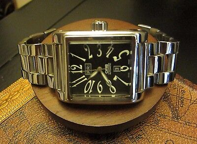 Oris Rectangular Day Date Black Dial Automatic Men's Vintage Watch