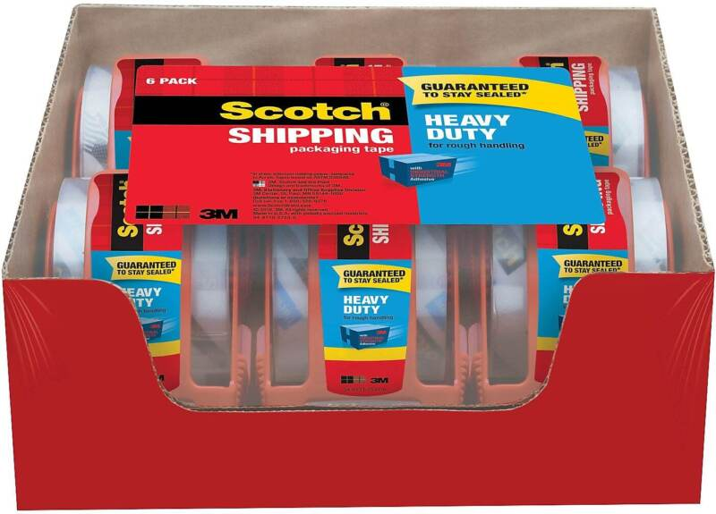 """Scotch Heavy Duty Shipping Packing Tape with Dispenser 1.88""""W x 22 yds. 495492"""