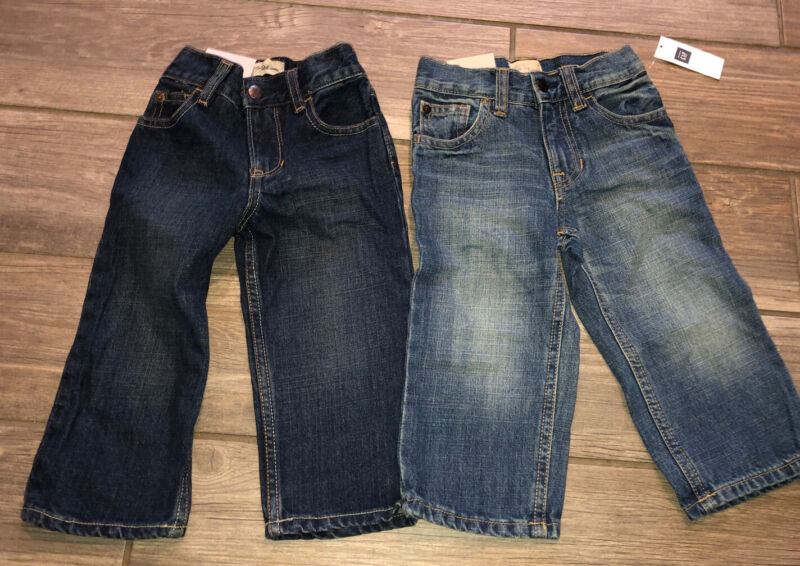 New Boys Baby Gap & Old Navy Straight Jeans Adjustable Waist Size 18-24 Month