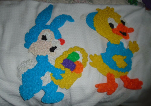 2  Vintage Easter Decorations Rabbit and Duck-Blue