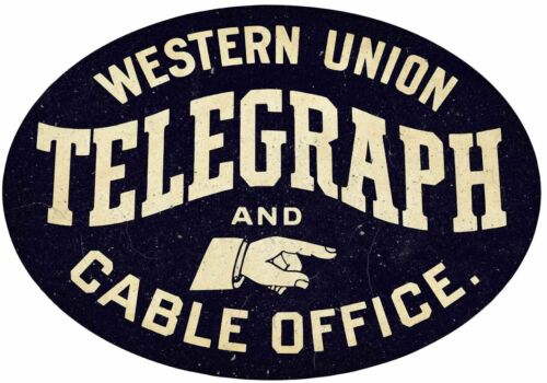 WESTERN UNION TELEGRAPH CABLE OFFICE HEAVY DUTY USA MADE METAL OVAL ADV SIGN