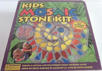 Mosaic Stepping Stones Patterns (Milestones Kids' Mosaic Stone Kit NEW Includes Real Stained Glass + 4 Patterns )