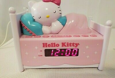 Hello Kitty AM/FM Radio Alarm Clock Sleeping Kitty in Bed Nightlight KT2052 Kids