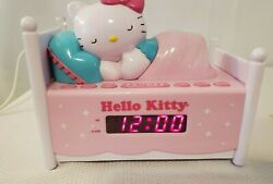 Hello Kitty AM/FM Radio Alarm Clock Sleeping Kitty in Bed Nightlight KT2052 Kids