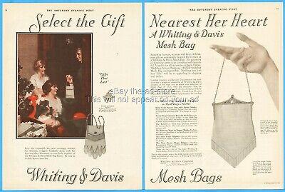 1920s Style Purses, Flapper Bags, Handbags 1923 Whiting & Davis Mesh Bag Purse Handbag Plainville MA 1920's Christmas Ad $11.24 AT vintagedancer.com