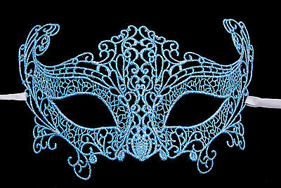 Mask from Venice Lace Burano-Wolf Civet Carnival- Blue Silver 46