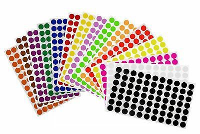 Color Coding Dot Stickers 15mm Round 58 Inch Circle Removable Labels