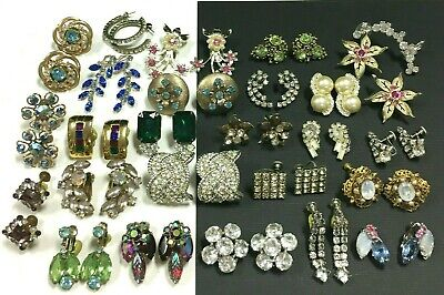 25 Pairs Better Vintage Rhinestone Clip Earring LOT, Glass Silver/Gold (Best Costume Jewelry Designers)