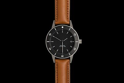 Instrmnt D-Series Watch - Black Bezel, Tanned  Leather Strap