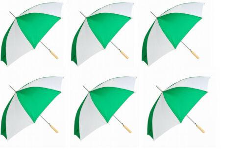 "6PK 48"" Auto Open Green / White Umbrella"