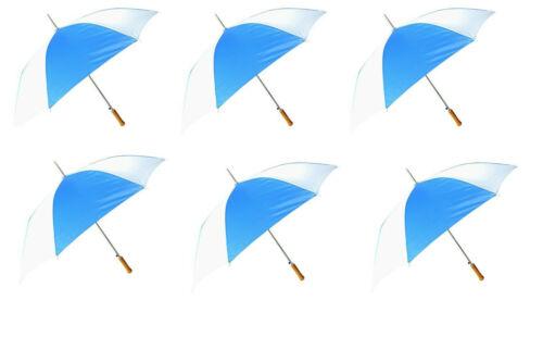 48 Inch Auto Open Blue / White Umbrella, 6 Pack