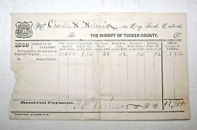 Helmick Collection - Antique 1883 Property Tax Receipt for Charles Helmick Tucker County WV.