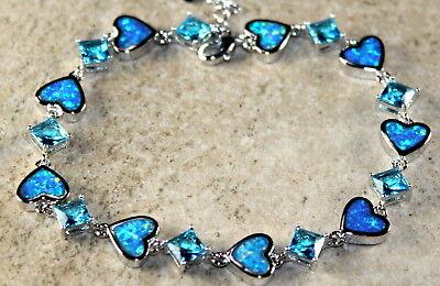 Silver Elegant Blue Fire Opal & Sky Blue Topaz Bracelet WB 20701 Sky Blue Bracelets