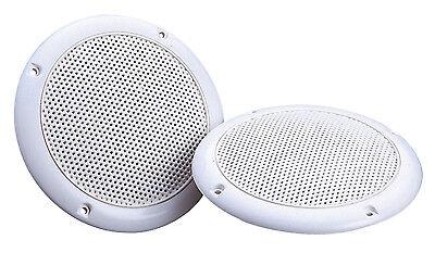 "2 x White 5"" 80W 8 Ohm Dual Cone Moisture Resistant Ceiling Speakers Bathroom"