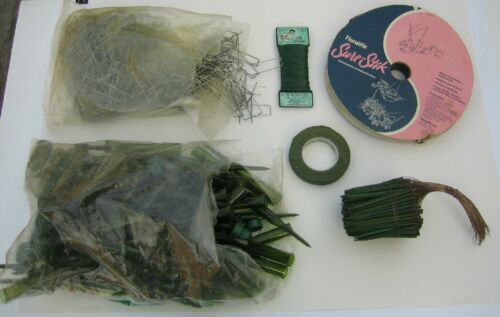 Lg Floral Florist Arranging Lot-92 Aquapics Wire & Wood Picks Tape Adhesive Pins