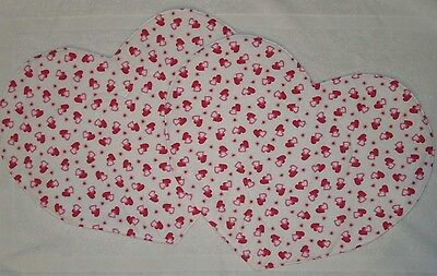 Set of 2 Handmade Heart Shaped Reversible Table Topper Placemat Valentine's Day