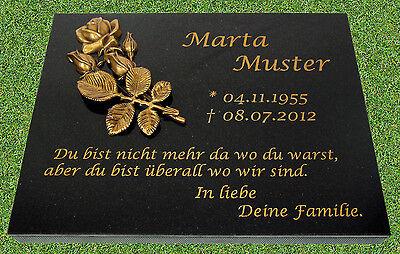 Grabplatte Grabstein 40x30x3 cm mit Inschrift und Messing-Motiv (Rose)