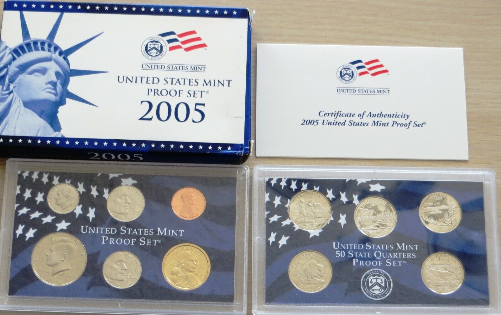 U.S. 2005 Proof Mint Set 38-1 With Sacagawea Dollar, State Quarters - $13.99