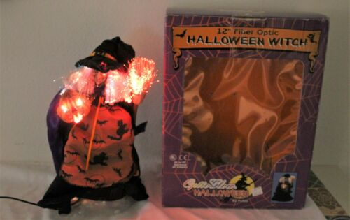 """Rare Puleo  ® Halloween Fiber Optic Witch 12"""" with Pumpkin with AC adapter"""