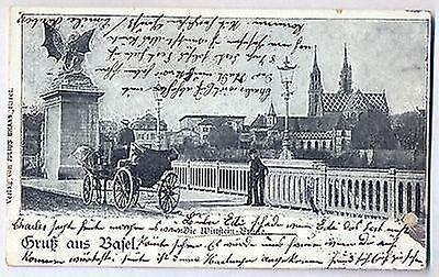 G 26 - Basel, Wittsteinbrücke mit Kutsche, 1901 n. Mülhausen gelaufen