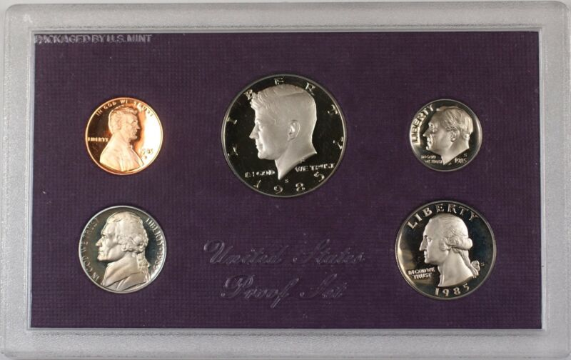 1985 US Mint Clad Proof Set 5 Gem Coins as Issued In OGP W/ Box
