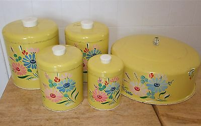 4 Vintage Ransburg Yellow KITCHEN CANISTER SET, Handpainted Flowers & CAKE COVER