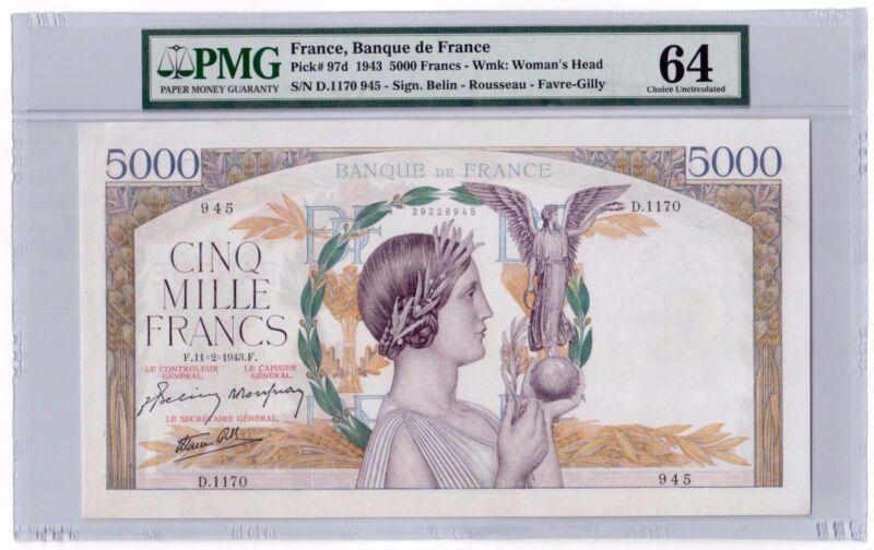 """France 5000 Francs 1943 Pick# 97d PMG Choice UNC 64 """"Large Size"""" """"Vintage"""" Rare"""