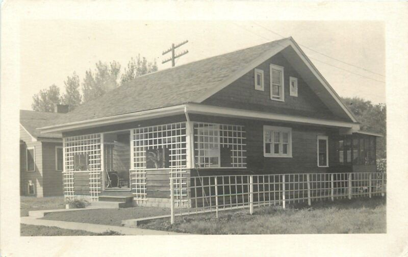 Hillsdale IL~Bungalow w/Square Lattice Work & Fence~Real Photo Postcard c1920