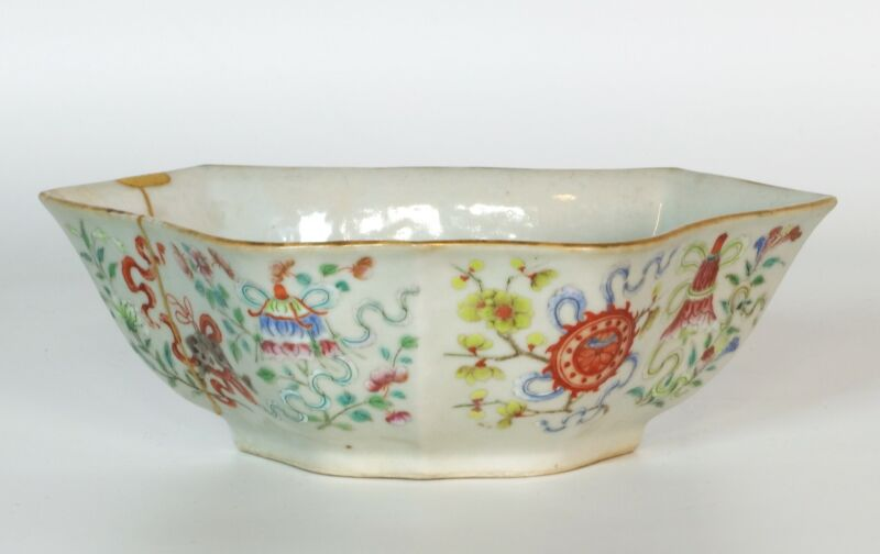 Antique Chinese Bat Shaped Porcelain Bowl With Treasures