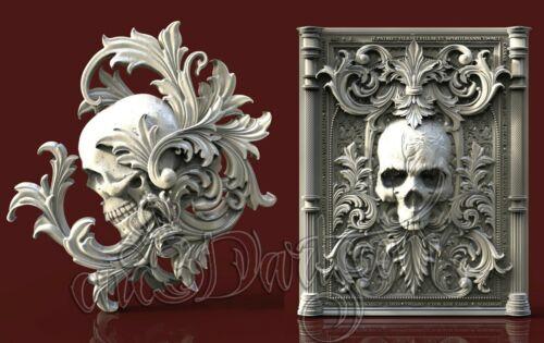 2 3D STL Models Skull Victorian CNC Router Carving Machine Artcam aspire Cut3D