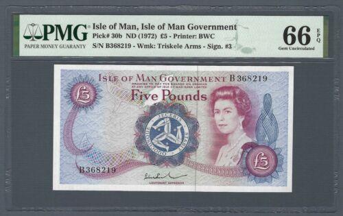 ISLE OF MAN 5 Pounds 1972 (ND 1979), P-30b M517 B-Prefix, PMG 66 EPQ Gem UNC