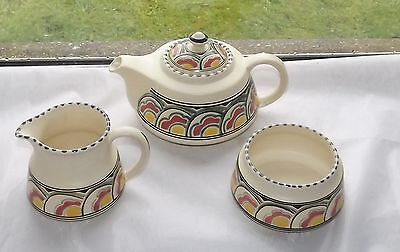 Honiton Devon Pottery Eastern Scroll 1950s Teapot Tea Pot Sugar and Milk