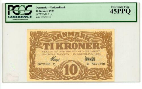 Denmark ... P-21z ... 10 Kroner ... 1928 ... CH*XF-AU*  PCGS 45 PPQ..