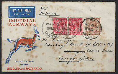 Rare First Day Cover First Air Mail to South Africa 1931