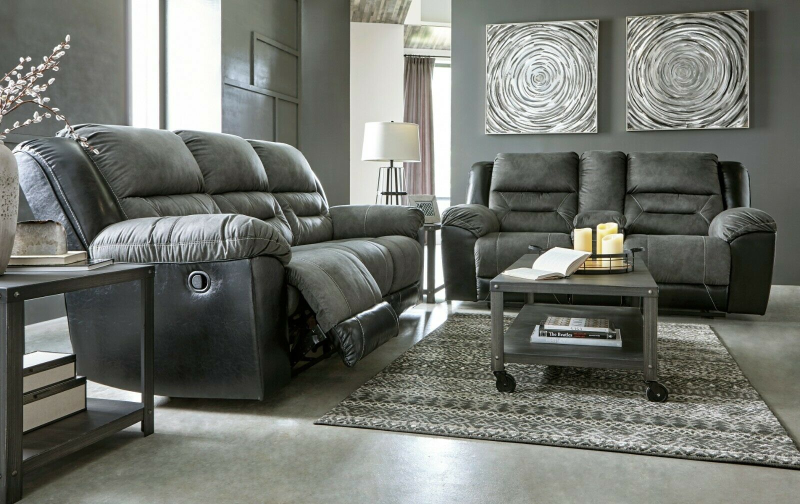 Ashley Furniture Yancy Leather Reclining Sofa And Loveseat 2920288 For Sale Online Ebay