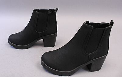 Boohoo Women's Solid Chunky Cleated Heel Chelsea Boots SC4 Black Size US:6 UK:4