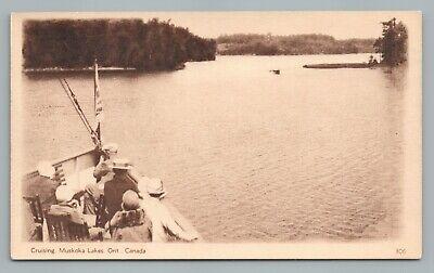 """Cruising"" MUSKOKA LAKES Ontario—Rare Antique Boat Postal Card 1930s"