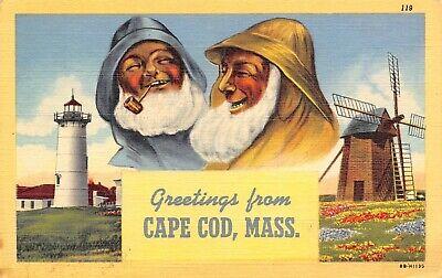 Cape Cod MA~Old Sea Salts in Rain Slickers~Light House~Wind Mill~1942 Linen
