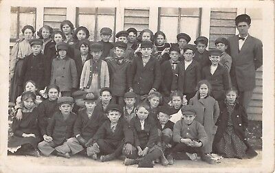 Shellsburg Iowa~School Children & Teachers Outside~Russian Hat~Quinn~1908 RPPC](Kids Russian Hats)