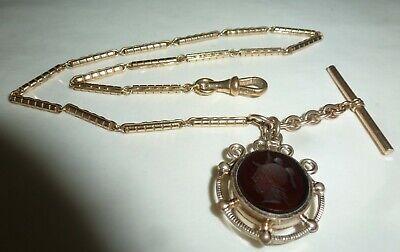 Vintage Victorian Gold Filled? Pocket Watch Chain Glass Intaglio Fob T-Bar