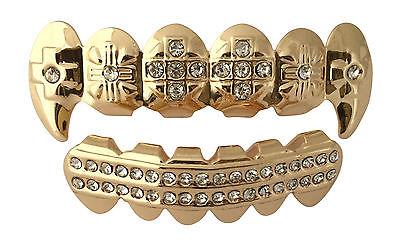 14K Gold Plated hip Hop Mouth Teeth Grills Grillz Set Cross Fangs w Mold - Fangs Gold Teeth