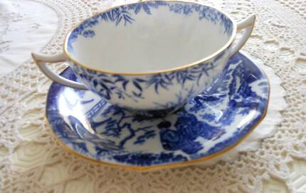Vintage Blue & White Loving Cup & Saucer Beautiful!