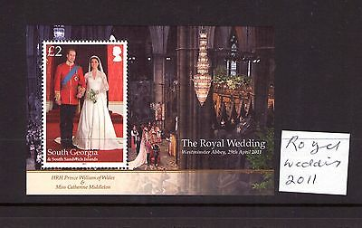 South Georgia and Sandwich Islands QEII 2011 ROYAL WEDDING PRINCE WILLIAM M/S MNH