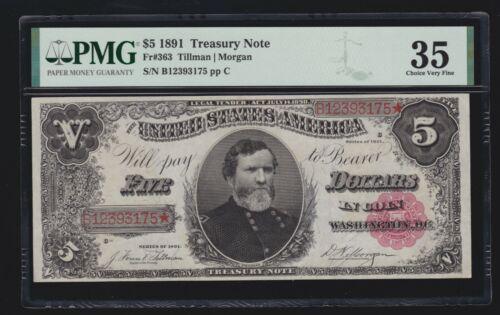 US 1891 $5 Treasury Note Plain Back FR 363 PMG 35 Ch VF (175)