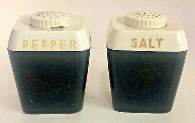 Rare Vintage Ff Salt And Pepper Shakers Black Plastic Sp Kitchen Table Set