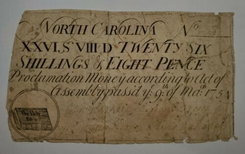 1754 Province of North Carolina 26 Shillings & 8 Pence Note