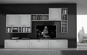 Parete soggiorno finitura bianco frassinato art grj024 for Mobili per soggiorno