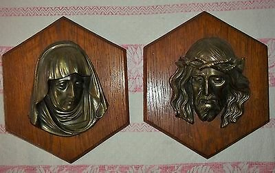 2 Wall Picture Maria-Josef-Jesus Relief-Messing Made Wooden Plaque