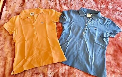 Lot Of 2 Women's LACOSTE Short sleeve Polo Shirts-size 36