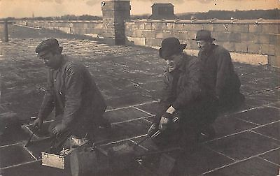 Real Photo Postcard Tin Roof Repair Men Roofers with Soldering Irons~108180
